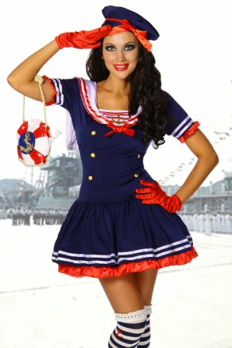 Yourdesignerz Marine-Kostüm Damen blau-rot-weiß S-M Verkleidung sexy Kleid, Mütze, String