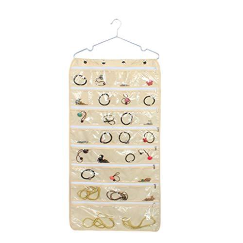 bloatboy Hängende Schmuck-Organizer-Tasche (56 Taschen) - Doppelseitiges Aufbewahrung mit Reißverschluss, Durchsichtige PVC-Kunststofffenster (Beige) -