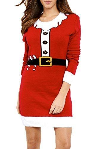 Oops Outlet Damen Weihnachten Weihnachtsmann Helfer Weihnachten Bart Elfe Kostüm Gestrickt Übergroßer Baggy-stil Pulli Minikleid - Rot, Übergröße EU 50