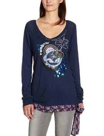 Desigual Damen Langarmshirt, 27T2563, Gr. 40 (L), Blau (Azul Artico 5039)