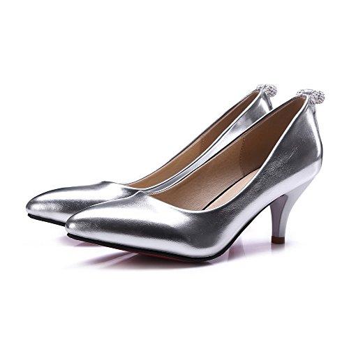 VogueZone009 Femme Pointu à Talon Correct Verni Mosaïque Tire Chaussures Légeres Argent