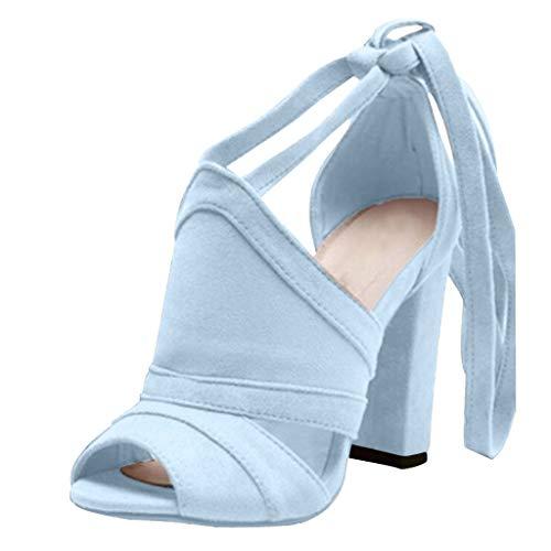 POIUDE Damen Pumps Sommer Bequeme High Heels mit Blockabsatz Pumps Hochzeit Abiball Querverband Offene Zehen Sandalen(Blau, 37)