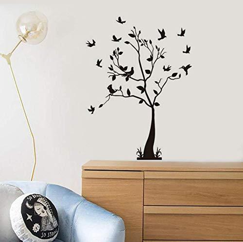 Hkkhkk Beautiful Tree Bird Branch Nature Style Vinyl Wall Decal Home Decor Bedroom Art Mural Removable Wall Sticker 89X58Cm