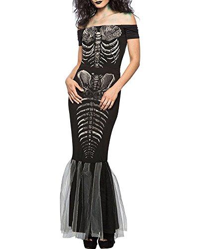 Romacci Damen Halloween Skeleton Kostüm Kleid aus Schulter Cosplay Party Maxi Meerjungfrau Kleid (Kostüm Meerjungfrau Kleid)