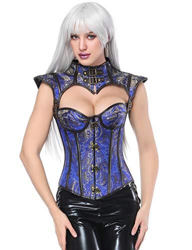 FeelinGirl Damen Gotik Steampunk Korsage Halloween Corsage Karneval Brokatmuster Hochwertig Vintage Korsett