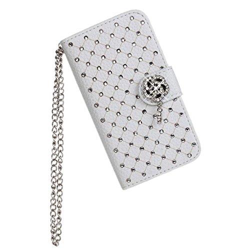 iPhone 4 4S Hülle,COOLKE [schwarz] Flip Cove case Luxury Beautiful Diamond Bling Wallet für Apple iPhone 4 4S 4G Schutzhülle Hülle Schutzschale Schale Handytasche Tasche Etui Case weiß