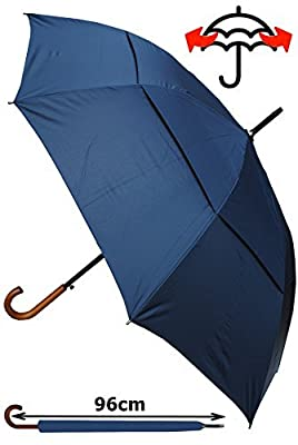 COLLAR AND CUFFS LONDON - Windproof EXTRA STRONG - StormDefender City Umbrella - Vented Double Canopy - HIGHLY ENGINEERED TO COMBAT INVERSION DAMAGE - Auto Open - Solid Wood Hook Handle - Navy Blue