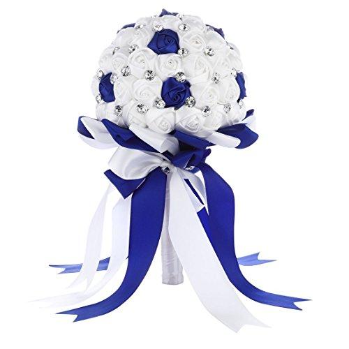 Cristallo satin rosa nuptiale di damigella d' onore di matrimonio bouquet di fiori decorazione, bleu royal 2, blu