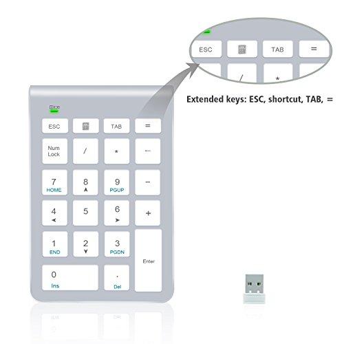 Teclado numérico inalámbrico, Alcey de 22 teclas con receptor Mini USB 2.4G para iMac, MacBooks, PC y portátiles – Silver