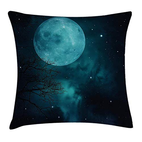 Xukmefat Space Throw Pillow Cushion Cover, Moon on Starry Sky Universe Cosmos Space Themed Mystical Twilight Celestial