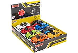 GLOBO- Pull Back Die-Cast Cars 4 Mod. 8 Piezas d/Box (38444), (1)