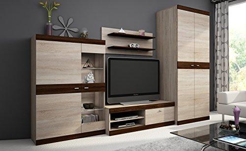 Wohnwand DINO, Anbauwand, Wohnzimmer Möbel, mit Beleuchtung