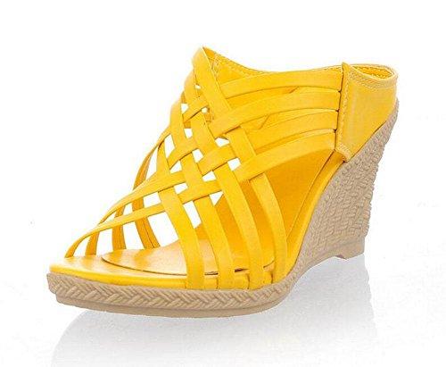 SHINIK Sandales pour femmes Pentes Pantoufles romaines Peep Toe Pumps Talon Chaussures Beige Jaune Rouge Vert Yellow