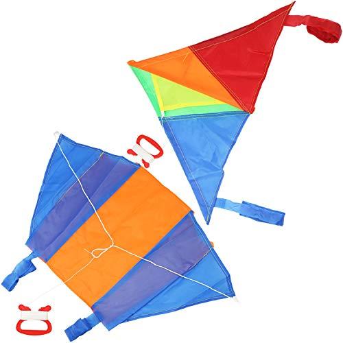 COM-FOUR® 2X Flugdrachen in bunten Farben, Drachen in verschiedenen Modellen für Kinder [Auswahl variiert], Wind-Drache mit 15 Meter Langer Schnur (02 Stück - Flugdrache klein)