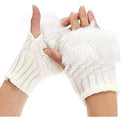 motuna Guantes sin dedos calentadores de invierno para mujer Guantes de muñeca de piel de conejo de imitación de punto Guantes