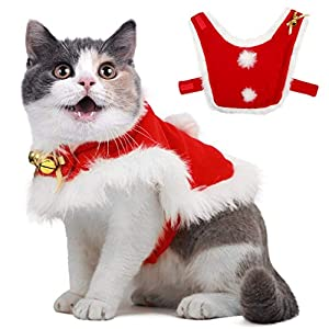 Dog Christmas Clothes Cat Costume with Bells Soft Thick Fabric Pet Cloak Outfit  Apparel Dress-up for Puppy Kitten Small Cats Dogs 0a372bfe3