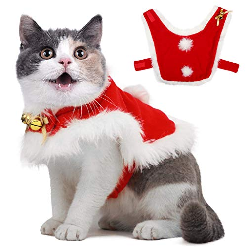 Pet Christmas Cloak Costume with Bells Soft Thick Fabric Pet Clothes Apparel Outfit Dress-up for Puppy Kitten Small Cats Dogs ()