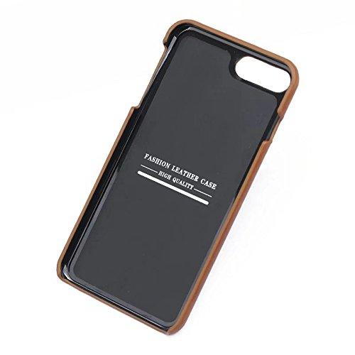 EKINHUI Case Cover Retro frosted Art-erstklassiger echtes Leder-rückseitige Abdeckungs-Fall für IPhone 7 und 8 ( Color : Gray ) Black