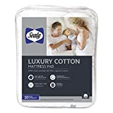 Sealy Luxury 100% Cotton Mattress Pad Queen White
