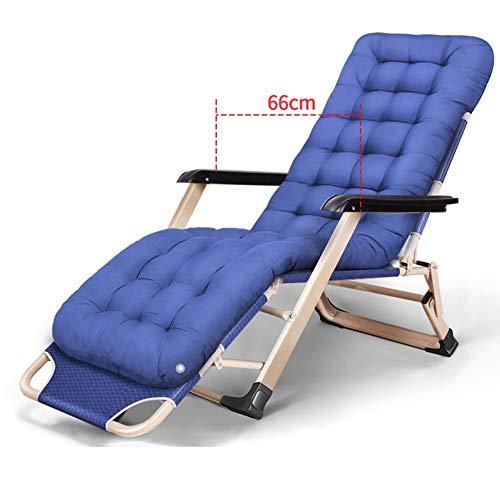 HYDT Liegende Lounge Zusammenklappbarer Zero Gravity Lounge-Sessel - Büro-Lazy Cool-Back-Chair Balkon-Strand-Mehrzweckfunktion, mit abnehmbaren Kissen (Farbe : Marine)