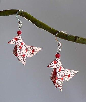 Boucles d'oreilles Origami Cocottes Papier Japonais. Or et rouge