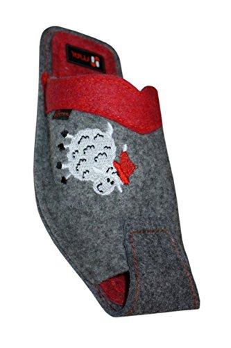 Herren Hausschuhe Das Lamm Wolle in Grau mit Rot Grau Mit Rot