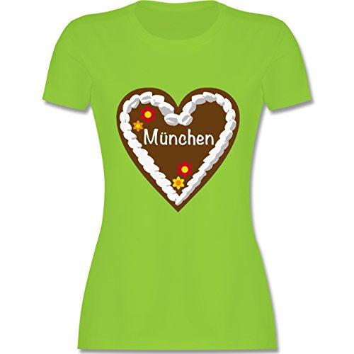 Oktoberfest Damen - Lebkuchenherz München - tailliertes Premium T-Shirt mit Rundhalsausschnitt für Damen Hellgrün