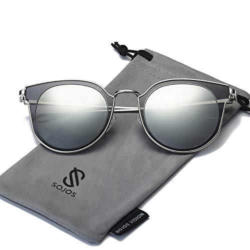 SOJOS Schick Klassische Retro Rund UV Schützen Polarisiert Sonnenbrille für Damen und Herren SJ1057 mit Silber Grau Rahmen/Silber Linse
