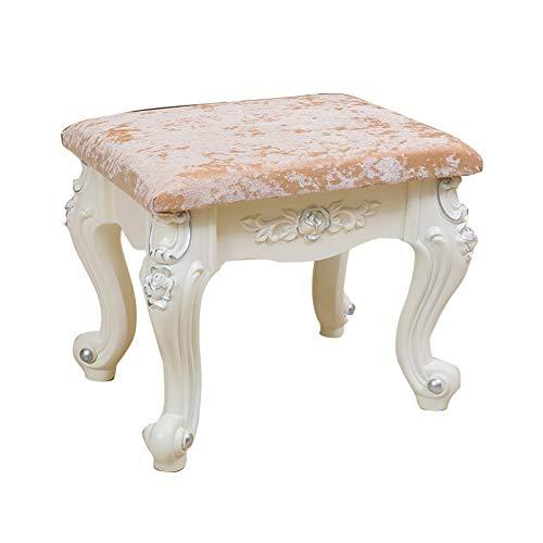 Schminktisch Hocker/Make-up Sitz/barocken Klavier Stuhl/gepolsterten Bank Stuhl, mit Kunststoff-Stahl Beine/Samt Stoff/High Resilience Schwamm, für Dressing Wohnzimmer/Schlafzimmer, weiß - Schlafzimmer Stahl-bank