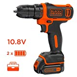 BLACK+DECKER BDCDD12KB-QW Perceuse visseuse sans fil - 12 V - 2 batteries 1,5 Ah-...
