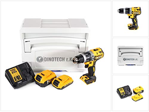 DeWalt DCD 796-18 V - Trapano avvitatore a percussione a batteria Brushless Tanos Systainer T-Loc II con 1 batteria da 2 Ah + 1 batteria da 5 Ah + caricatore