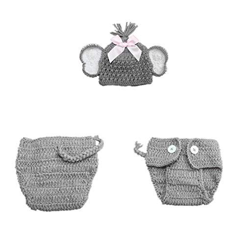 NROCF Baby Elefant Neugeborenen Fotografie häkeln Anzug, Langen Schwanz Hut Babykleidung, handgemachte Baby Fotografie Requisiten (Neugeborenen Baby Elefanten Kostüm)