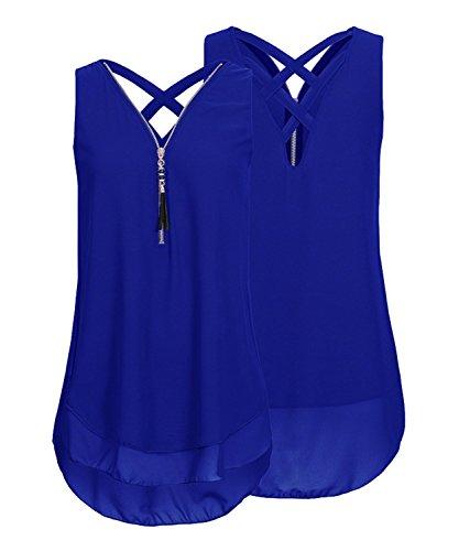 ASKSA Damen Chiffon Bluse Ärmellos Reißverschluss V Ausschnitt Rückenfrei Tank Tops T-Shirt (Blau, 5XL)