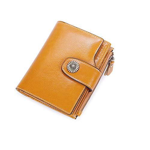 Portafoglio donna piccolo portamonete pelle pieghevole rfid porta carte di lusso con cerniera - giallo