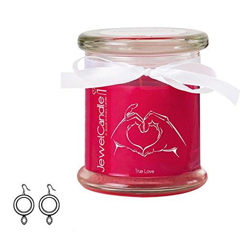 Jewelcandle true love - candela in vetro con un gioiello - candela profumata rossa con una sorpresa in regalo per te (orecchini in argento, tempo di combustione: 45-65 ore)