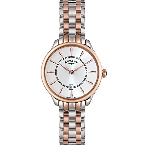 Rotary Women's Quartz Watch with White Dial Analogue Display and Rose Gold Stainless Steel Bracelet LB02917/02