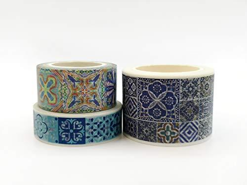 Sticky Rice Collection (Blue Tiles Washi Tape Set für Sammelalben, Basteln, Geschenkverpackungen, Partyverzierung und Dekoration)