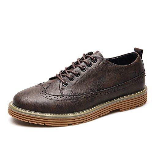 Homme Rétro Chaussures de Ville à Lacets en PU Cuir Bout Rond Brogue Épais Plateforme Démarrer Loisir Brun