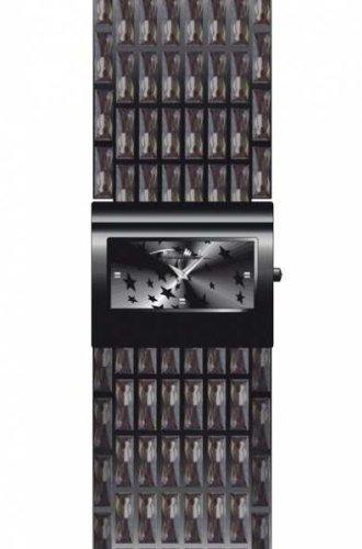 Thierry Mugler 4705603 - Reloj analógico de cuarzo para mujer con correa de acero inoxidable, color negro