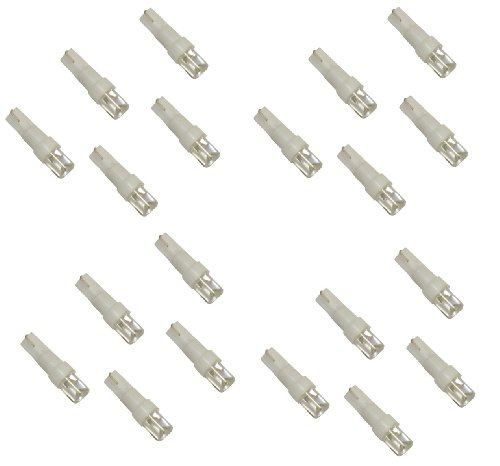 Aerzetix - Set di 20 lampadine lampada per cruscotto T5 LED bianco.