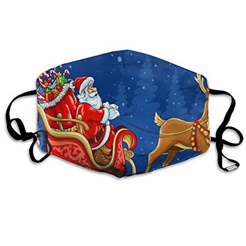 Anti-pollution Breathing Mask Santa Sleigh Christmas Holiday Deer Mask Air Filter Mask Warm Windproof Mask Washable Adjustable Shoulder Strap -
