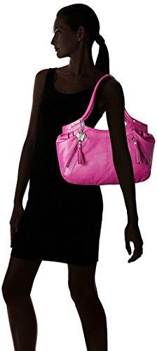Butterflies Leder `S Schulter Handtasche Lässig Designer-Handtasche Faux Rosa