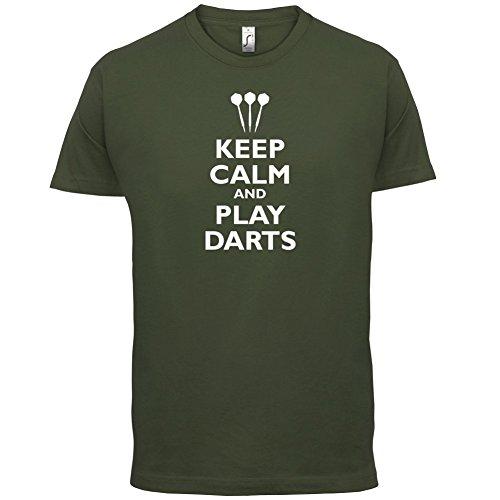 Keep Calm and Play Darts - Herren T-Shirt - 13 Farben Olivgrün