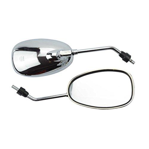 GOOFIT 8mm Silber-Überzug-Rückspiegel für 50cc 70cc 90cc 110cc 125cc 150cc 200cc 250cc Scooter Motorrad Moped