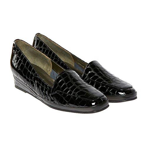 Florever De Paris M .Dogawa Damen Verona Iii Mokassin (Black Patent Croc)