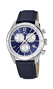 Lotus 15850/7 - Reloj cronógrafo de cuarzo para hombre con correa de piel, color azul de Lotus