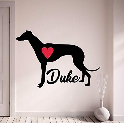 (Wiwhy Greyhound Wandtattoo Personalisieren Mit Ihrem Hund Name Wand Aufkleber Pet Dogs Home Decor Mit Roten Herzen Wohnzimmer 56 X 82 Cm)