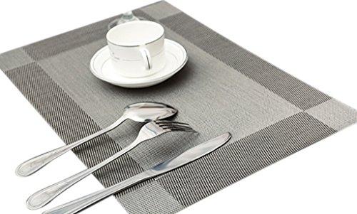 Bigood Lot de 4 Sets de Table PVC Nappe Antidérapant Cuisine Restaurant Gris