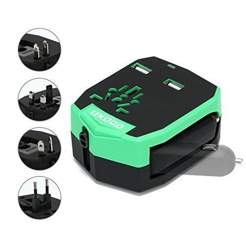 OXoqo International Weltweit Reise Ladegerät Plug Power Wand Adapter (US UK EU AU) mit 2 2,5A USB Ports und Auto Ladegerät, Grün