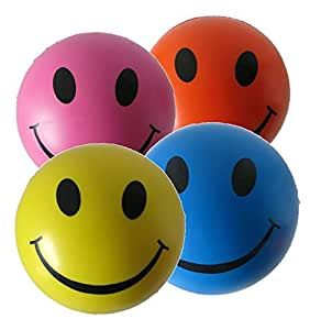 Stress Balls 4 x Mixed Colour - Sensory Toys - Yellow, Pink, Blue and Orange Stress Ball - Stress Relief Toys for ADHD and Autism